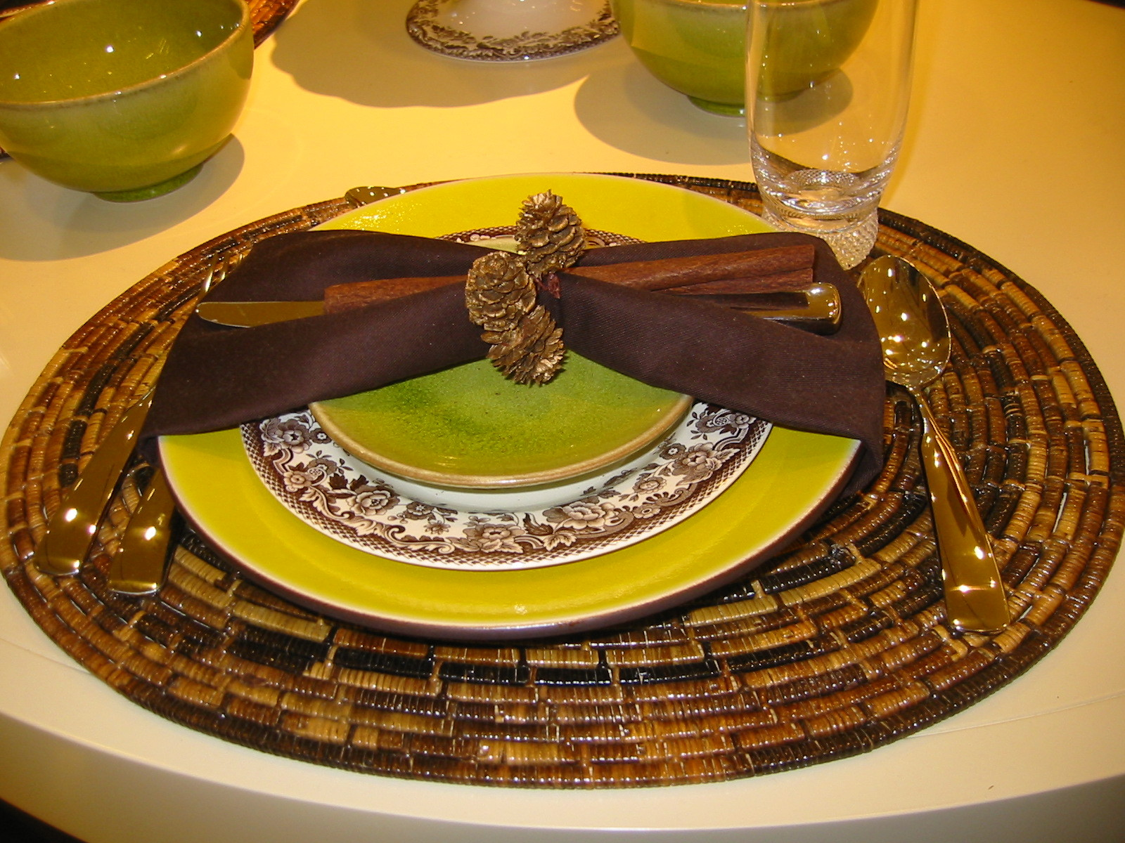 green, brown, Table setting