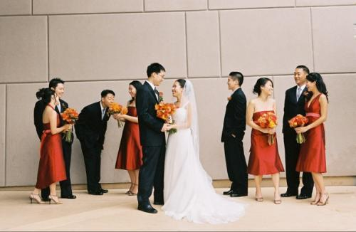 yellow, orange, red, gold, Fall, Wedding party