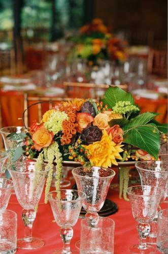 Flowers & Decor, yellow, orange, red, gold, Centerpieces, Fall, Flowers, Fall Wedding Flowers & Decor, Centerpiece, Sasha souza events, Low
