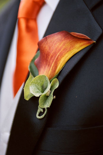 Flowers & Decor, orange, Flowers, Calla lily, Tie, Boutteniere
