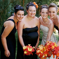 Flowers & Decor, Bridesmaids, Bridesmaids Dresses, Fashion, orange, black, Bride Bouquets, Bridesmaid Bouquets, Flowers, Bouquet, Flower Wedding Dresses
