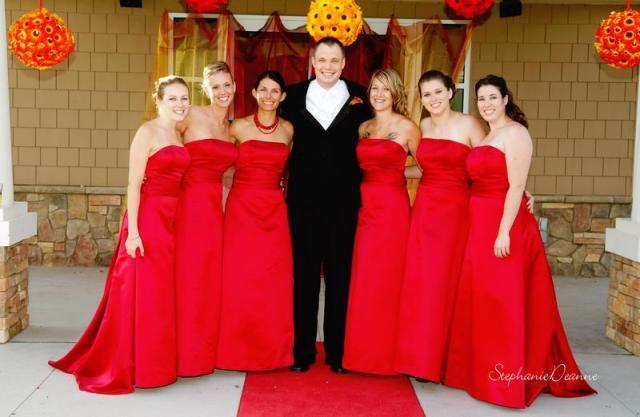 Bridesmaids, Bridesmaids Dresses, Fashion, yellow, orange, red, Group