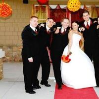 orange, red, Groomsmen, Group
