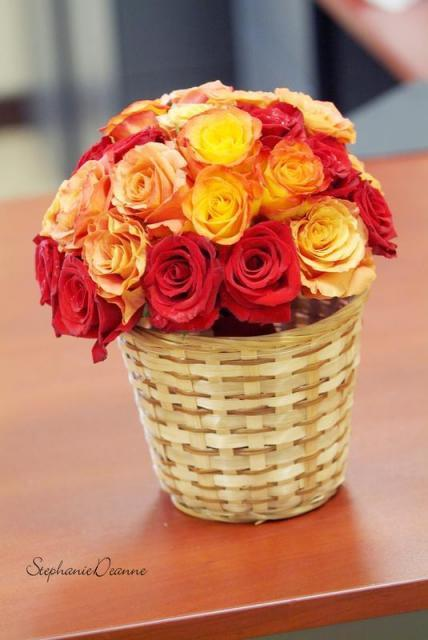 Reception, Flowers & Decor, yellow, orange, red, Centerpieces, Flowers, Centerpiece