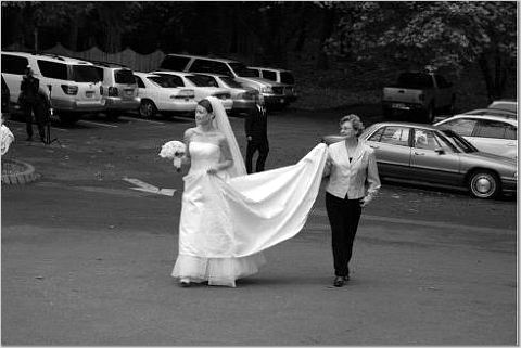 Bride, Mom, Walking