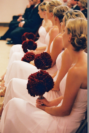 Ceremony, Flowers & Decor, Bridesmaids, Bridesmaids Dresses, Fashion, pink, red, Ceremony Flowers, Bridesmaid Bouquets, Flowers, Brides bouquet, Flower Wedding Dresses