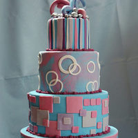 Cakes, pink, purple, blue, cake, Modern, Modern Wedding Cakes