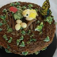 Cakes, cake, Butterfly, Bird, Nest