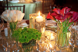 Reception, Flowers & Decor, white, red, green, Centerpieces, Flowers, Centerpiece, Water lily pond