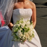 Flowers & Decor, white, Bride Bouquets, Flowers, Stephanotis, Bouquet, Love in bloom, rochids, white roses, hand tied, bridal bouquet