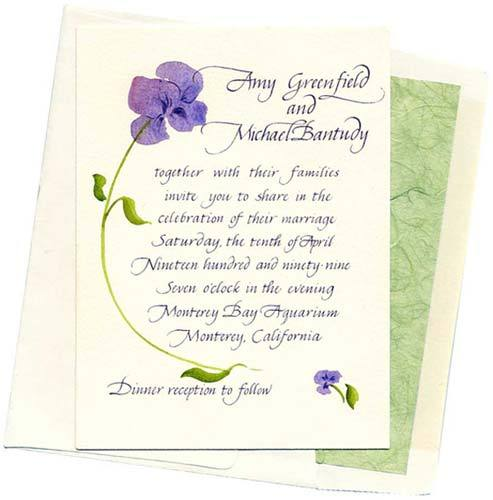 Stationery, purple, green, Invitations, Inprint