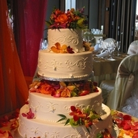 Cakes, white, orange, pink, red, green, cake, Orchids, Elegant, Colors, Love in bloom, Bright