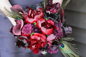 red, purple, Bride Bouquets, Bridesmaid Bouquets