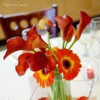 Reception, Flowers & Decor, orange, red, Centerpieces, Flowers, Centerpiece