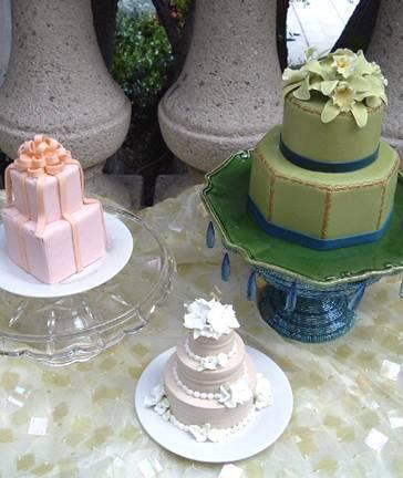 Cakes, pink, green, cake, Fleur de lisa, Mini