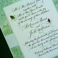 Stationery, green, Invitations, Blooming quill