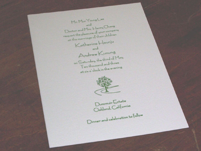 Stationery, green, Invitations, Monagram, Superior letterpress, Tree