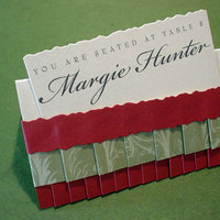 red, green, Mine by design, Placecard