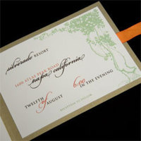 Stationery, orange, green, Invitations, Oliostyle