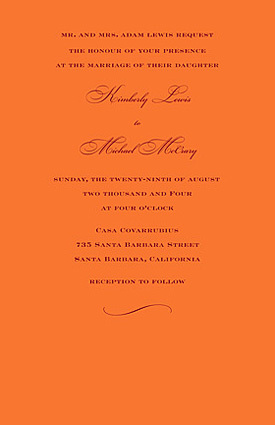 Stationery, orange, Invitations, Sarah drake design