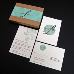 Stationery, green, brown, Invitations, Oliostyle