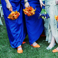 Flowers & Decor, Bridesmaids, Bridesmaids Dresses, Shoes, Fashion, orange, blue, silver, Bridesmaid Bouquets, Flowers, Flower Wedding Dresses