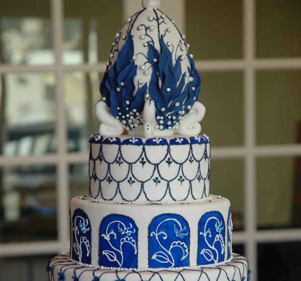 Cakes, white, blue, cake, Lily of the valley