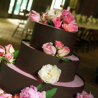 Cakes, pink, brown, cake, Water lily pond