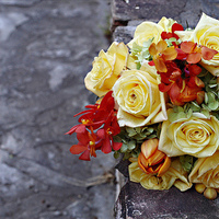 yellow, red, Bride Bouquets, Bridesmaid Bouquets, Garden Wedding Flowers & Decor, Vintage Wedding Flowers & Decor