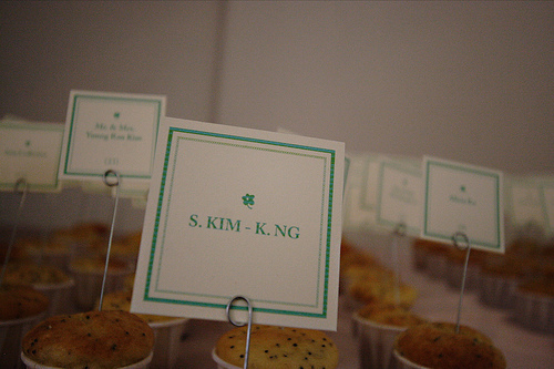 blue, green, Name cards, Dessert