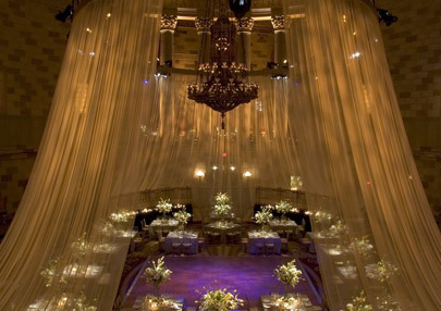 Reception, Flowers & Decor, Lighting, Draping, Pipe, Gotham hall