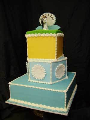 Cakes, yellow, blue, cake, The pastry swan bakery