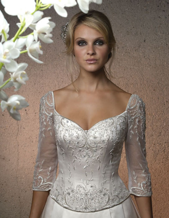 Wedding Dresses, A-line Wedding Dresses, Lace Wedding Dresses, Fashion, dress, Lace, Casablanca bridal, A-line, Sleeves