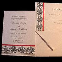 Stationery, red, black, Invitations, Papel vivo