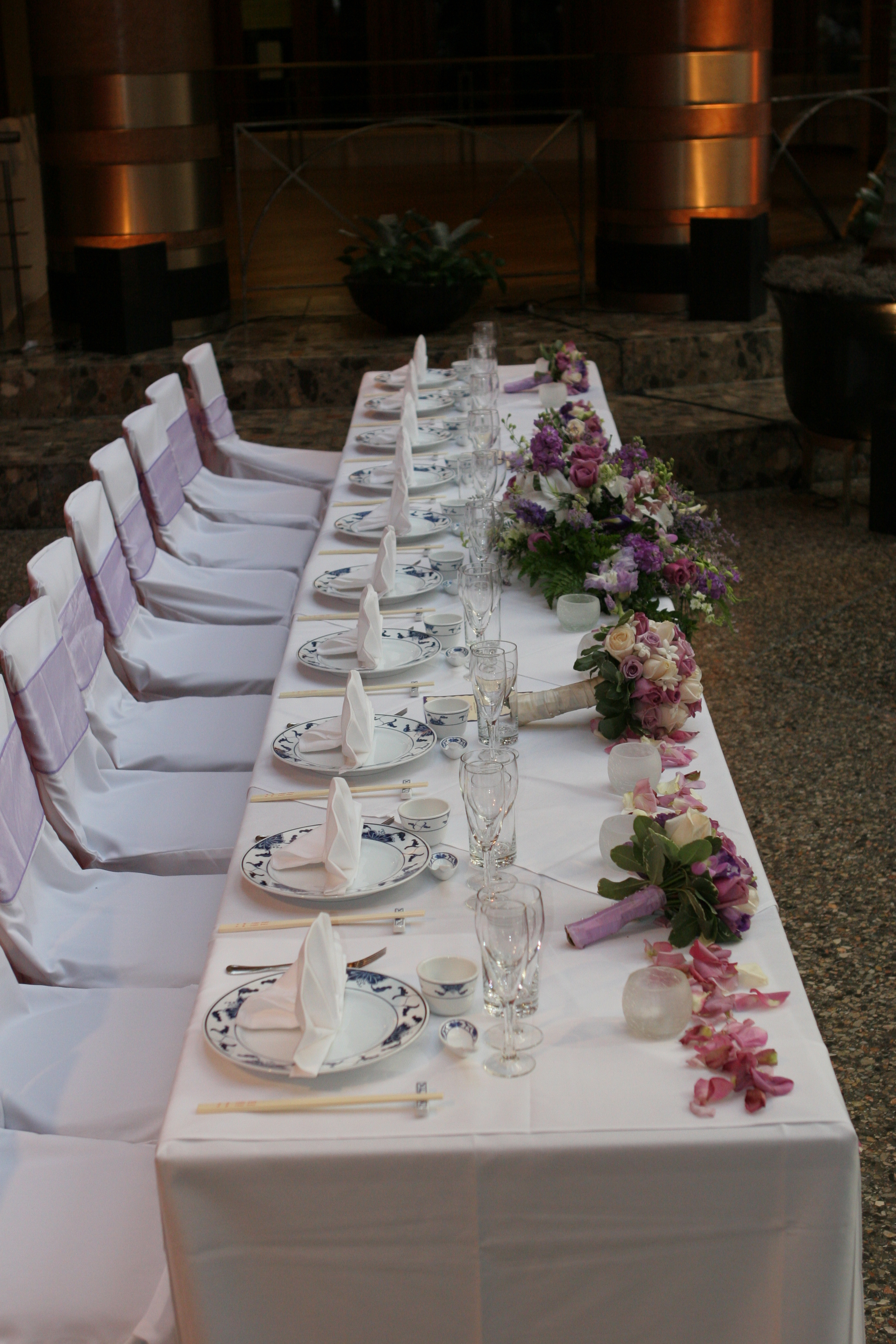 Reception, Flowers & Decor, purple, Flowers, Headtable