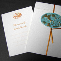 Stationery, orange, blue, Invitations, Papel vivo