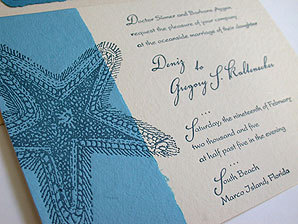 Stationery, blue, Beach, Beach Wedding Invitations, Invitations, Papel vivo
