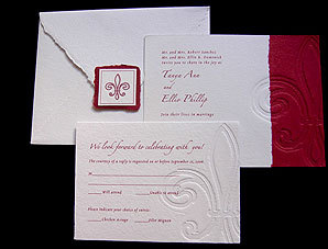 Stationery, red, Invitations, Papel vivo, Fleur de lys