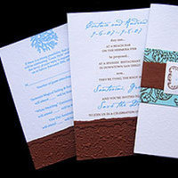 Stationery, blue, brown, Invitations, Papel vivo