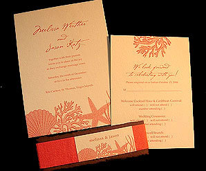 Stationery, orange, Beach, Beach Wedding Invitations, Invitations, Papel vivo