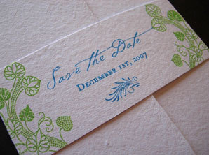 Stationery, blue, green, Invitations, Save-the-Dates, Papel vivo