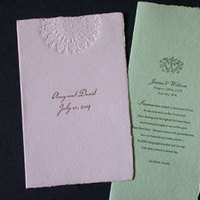 Stationery, purple, green, Invitations, Papel vivo