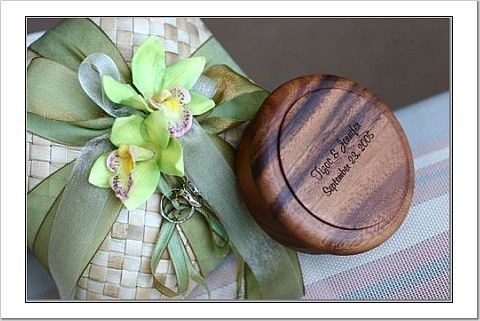 Ceremony, Flowers & Decor, green, brown, Rings, Ring pillow