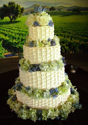 Cakes, white, blue, cake, Decadence, Basketweave
