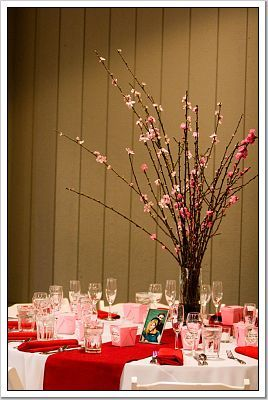 Reception, Flowers & Decor, pink, red, Centerpieces, Flowers, Centerpiece, Cherry blossom
