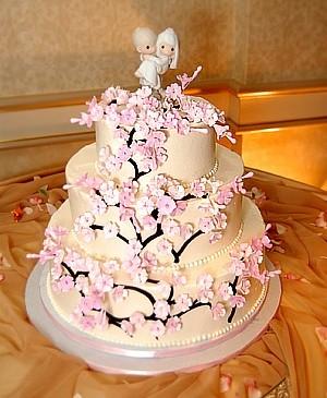 Cakes, pink, cake, Cherry blossom, Decadence