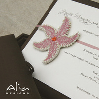 Stationery, pink, brown, Beach Wedding Invitations, Invitations