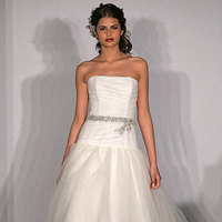 Wedding Dresses, Fashion, dress, Strapless, Strapless Wedding Dresses, Sash, Amsale, Tulle, tulle wedding dresses