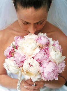 white, pink, Bride Bouquets
