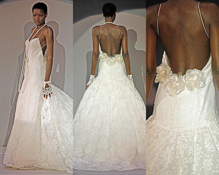 Wedding Dresses, Lace Wedding Dresses, Fashion, dress, Lace, Spaghetti straps, Amsale, Spahetti Strap Wedding Dresses